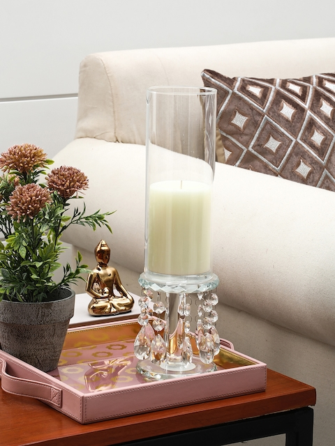 Pure Home and Living Transparent Crystal Candle Holder
