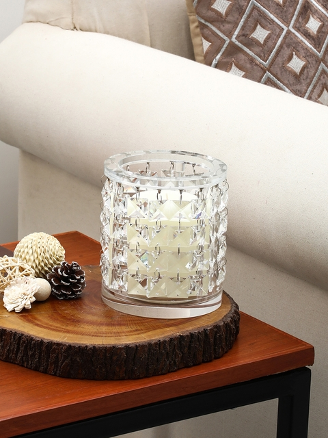 Pure Home and Living Transparent Hanging Crystal Pillar Candle Holder