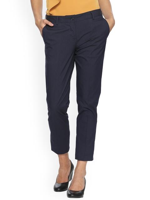 Van Heusen Woman Blue Regular Fit Solid Formal Trousers