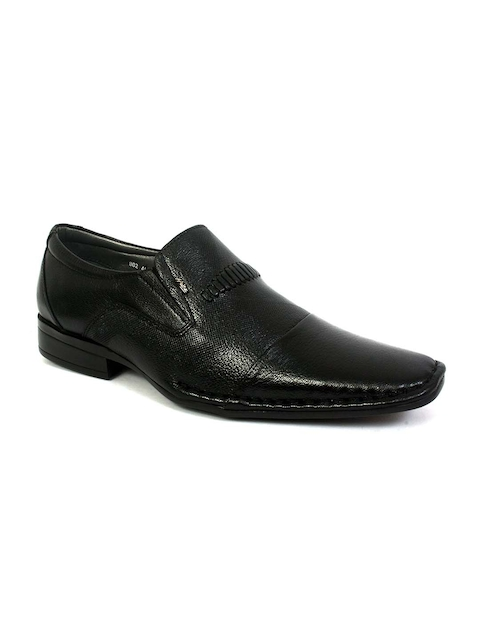 Hitz Men Black Leather Formal Slip-On Shoes