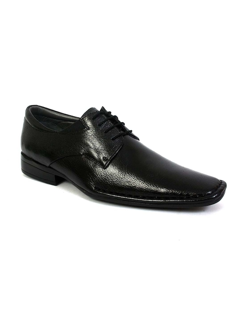 Hitz Men Black Leather Formal Derbys
