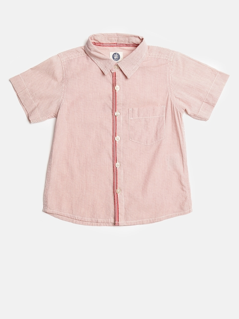 YK Boys Red & White Regular Fit Striped Casual Shirt