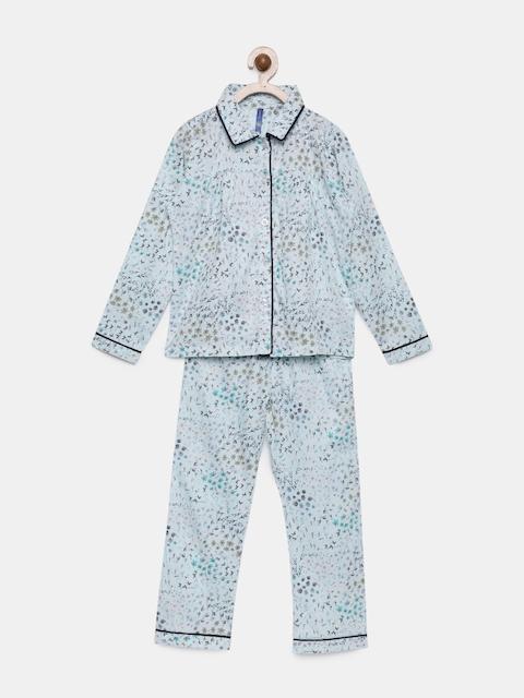 YK Girls Blue Printed Night suit