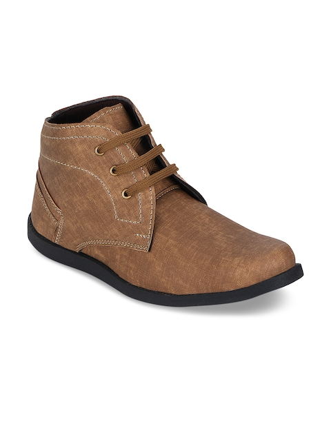 Kielz Men Brown Solid Synthetic Mid-Top Flat Boots
