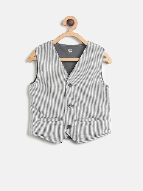 MINI KLUB Boys Grey & Off-White Striped Waistcoat