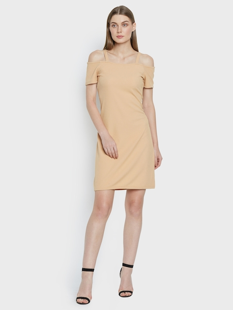 AND Women Beige Solid Sheath Dress