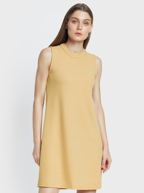 AND Women Beige Solid A-Line Dress