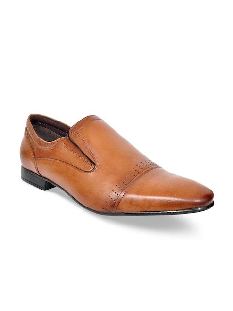 Kielz Men Tan Semi-Formal Leather Slip-Ons