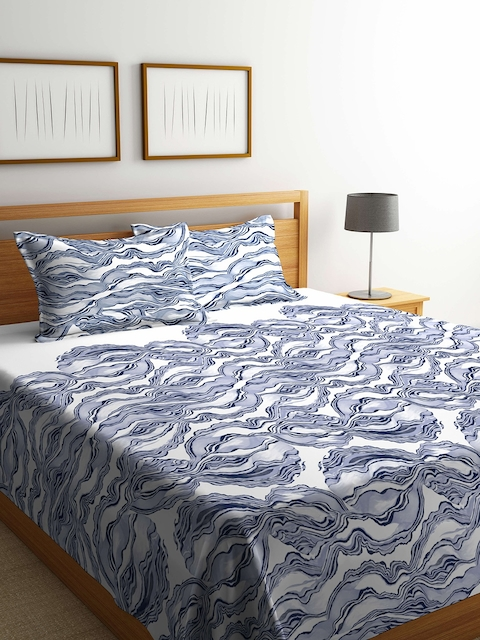 Portico New York White & Blue Abstract Print 180 TC Double Bed Cover with 2 Pillow Covers