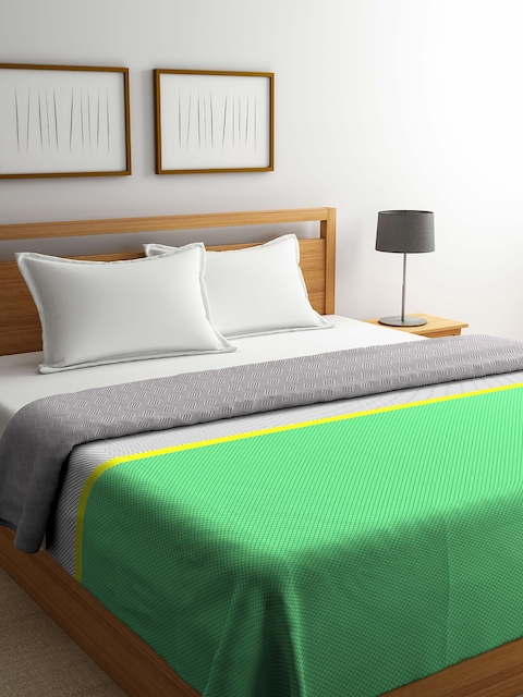Portico Green & Grey Checked Double Bed Duvet Cover