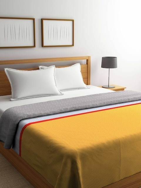 Portico Mustard & Grey Checked Double Bed Duvet Cover