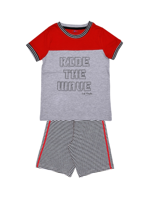 ventra Boys Red & Grey Printed Night suit