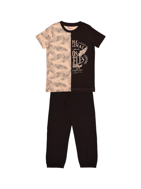 ventra Boys Black & Peach-Coloured Printed Night suit