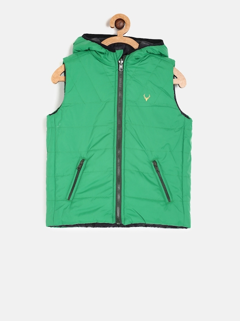 Allen Solly Junior Boys Green & Black Solid Reversible Padded Jacket