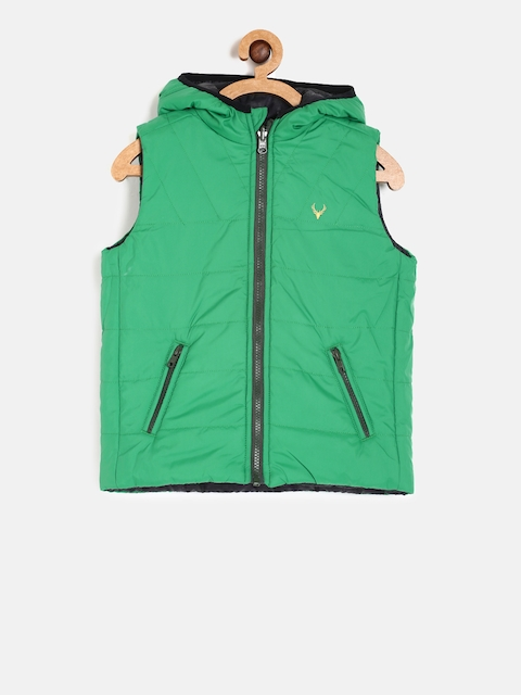 Allen Solly Junior Boys Green & Black Reversible Padded Jacket