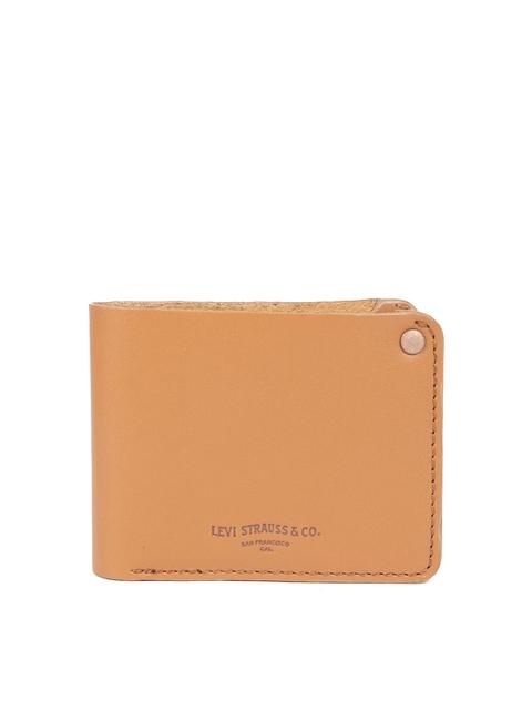 Levis Men Camel Brown Solid Two Fold Saddle Stitch Wallet
