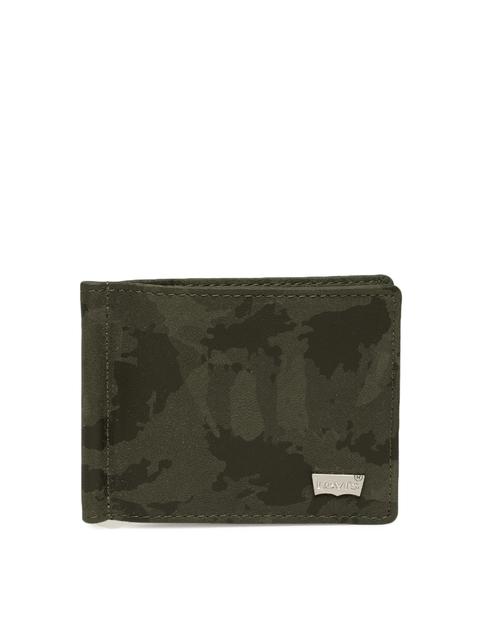 Levis Men Green Printed Leather Card Holder