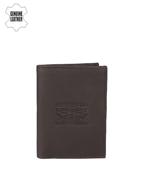 Levis Men Coffee Brown Textured Two Fold Wallet