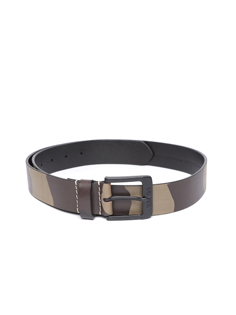 Levis Men Olive Green & Brown Camouflage Print Leather Belt