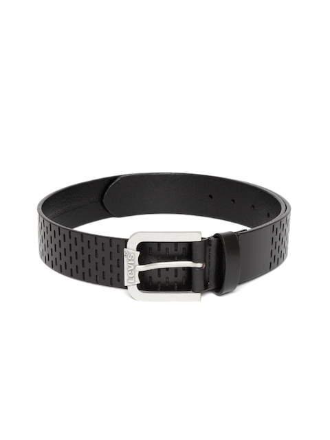 Levis Men Black Leather Textured Belt