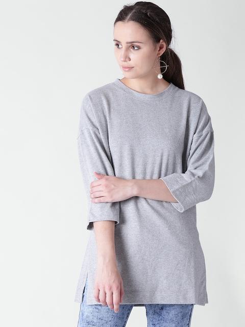 FOREVER 21 Women Grey Melange Solid Round Neck Sweatshirt