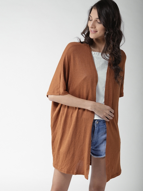 FOREVER 21 Brown Solid Open Front Shrug
