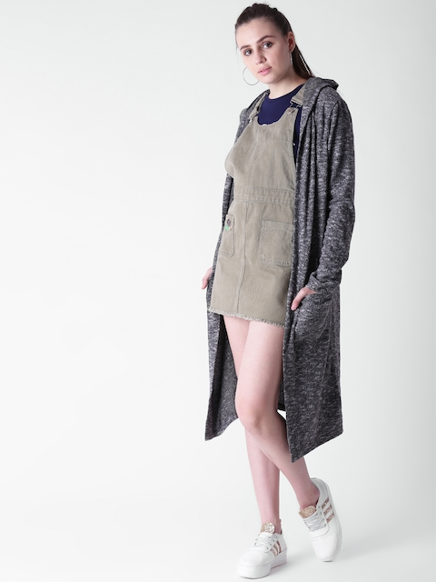FOREVER 21 Charcoal Grey Solid Open Front Shrug