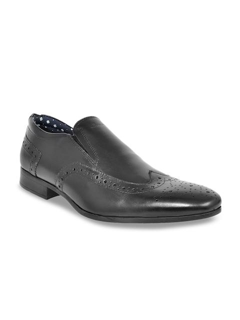 Allen Cooper Men Black Leather Formal Slip-On Shoes