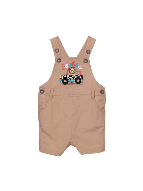 Beebay Boys Beige Embroidered Dungarees