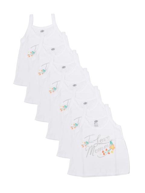 Zero Girls Pack of 6 White Printed Camisoles ZERO-DMC-RN-SLIPS-121-326