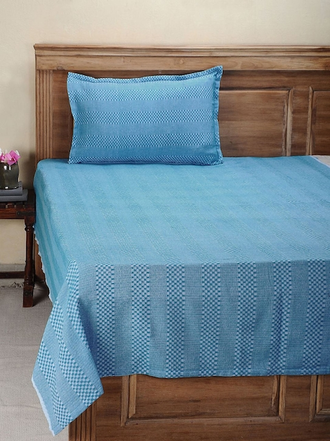 NEUDIS Blue Hand Woven Cotton Single Bed Cover with 1 Pillow Cover