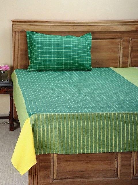 NEUDIS Green Hand Woven Cotton Single Bed Cover with 1 Pillow Cover