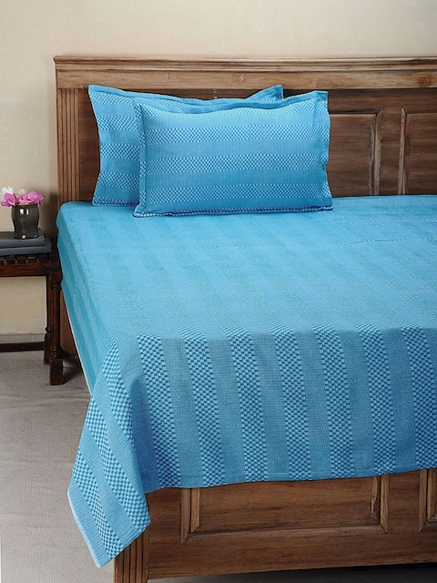 NEUDIS Solid Blue Double Bed Cover with 2 Pillow Covers