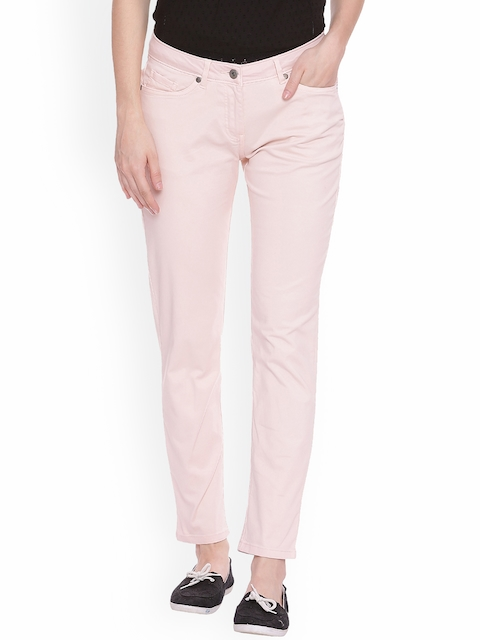 Allen Solly Woman Women Pink Regular Fit Solid Regular Trousers