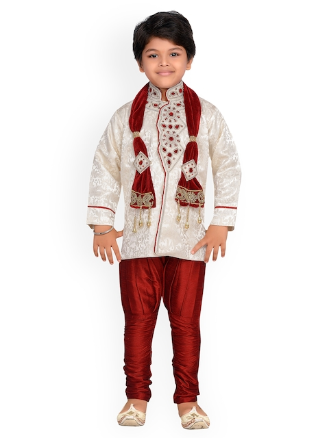 Aj DEZInES Maroon & Off-White Boys Indo Western Sherwani Set