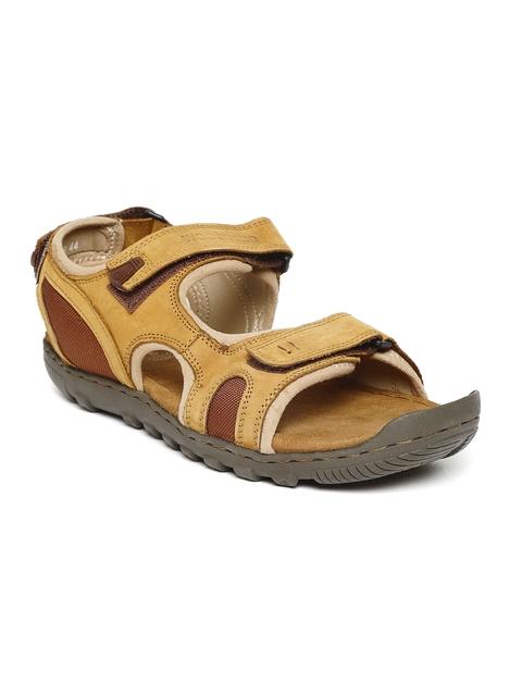 Woodland Men Camel Brown Leather Comfort Sandals