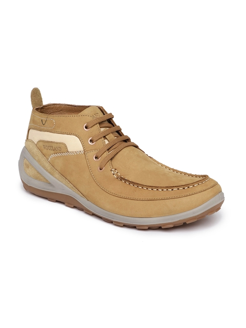 Woodland Men Brown Solid Nubuck Mid-Top Flat Boots