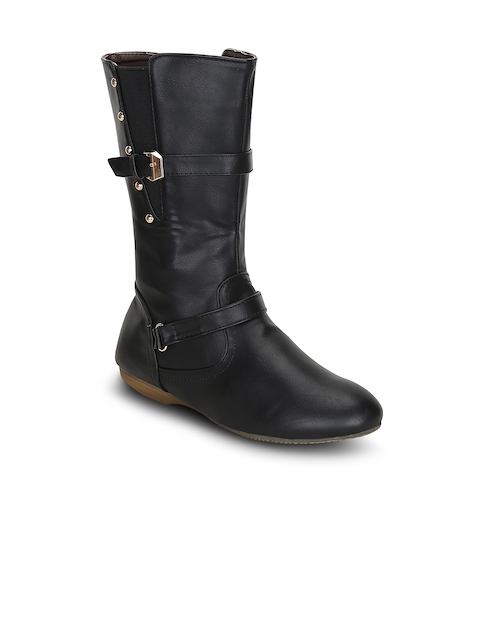 Kielz Women Black Solid Synthetic High-Top Flat Boots