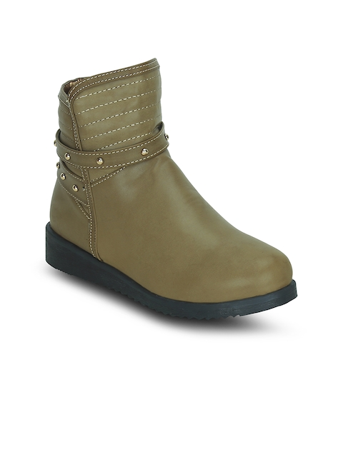 Kielz Women Olive Green Solid Synthetic Mid-Top Flat Boots