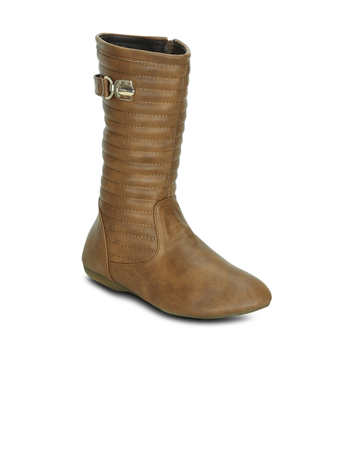 Kielz Women Brown Solid Synthetic High-Top Flat Boots
