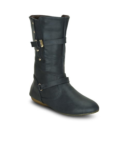 Kielz Women Blue Solid Synthetic High-Top Flat Boots