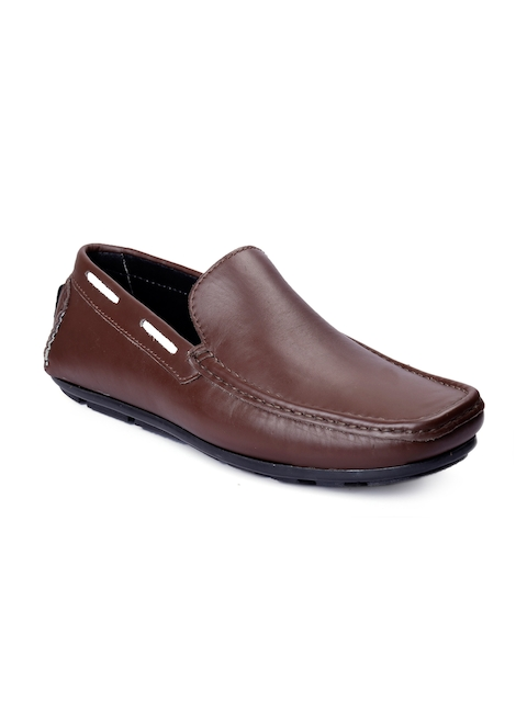 bacca bucci Men Brown Leather Driving Shoes