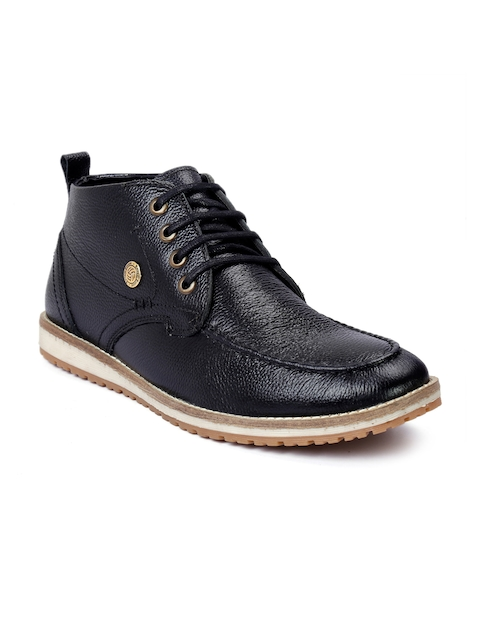 bacca bucci Men Black Solid Leather Mid-Top Flat Boots