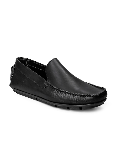 bacca bucci Men Black Leather Driving Shoes