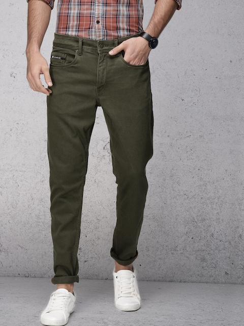 Ecko Unltd Men Olive Green Tapered Fit Mid-Rise Clean Look Stretchable Jeans