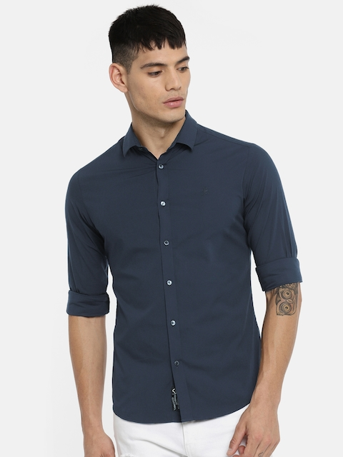 Being Human Men Navy Blue Slim Fit Solid Casual Shirt