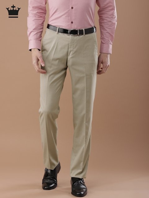 Louis Philippe Men Beige Ultra Regular Fit Solid Formal Trousers