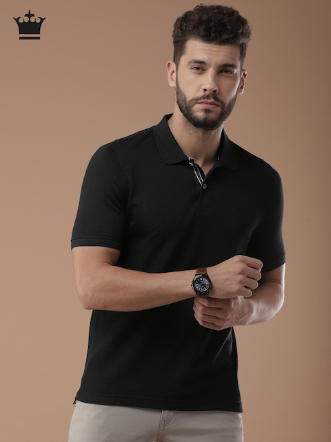 Louis Philippe Men Black Solid Polo Collar T-shirt
