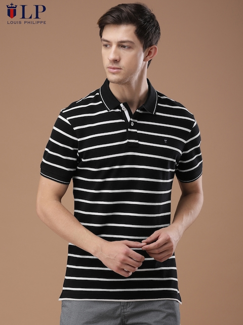 Louis Philippe Sport Men Black & White Striped Polo Collar T-shirt