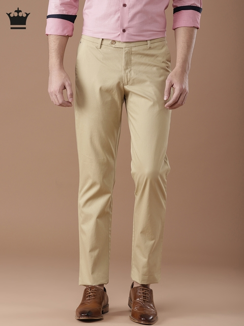 Louis Philippe Men Beige Milano Fit Solid Regular Trousers